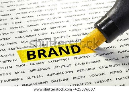 Word Brand highlighted with marker on paper of other related words.business success concept. - stock photo