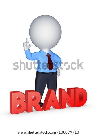 Word BRAND.Isolated on white.3d rendered. - stock photo