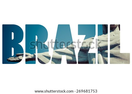 Word BRASIL over famous places in Rio de Janeiro. - stock photo