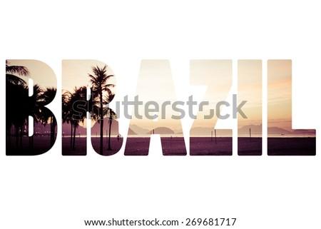 Word BRASIL View of Ipanema Beach in the evening - stock photo