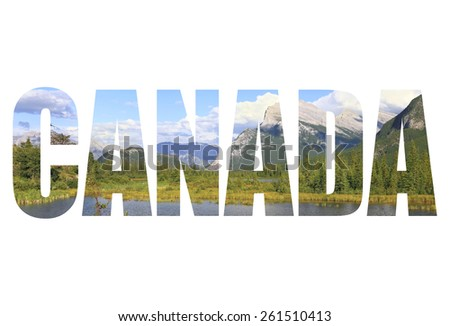 Word Canada. Rocky Mountains landscape. Alberta. Canada - stock photo