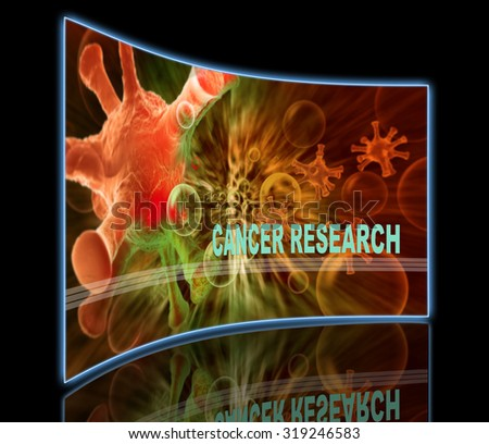 word CANCER RESEARCH  writing on  cancer image    background - stock photo