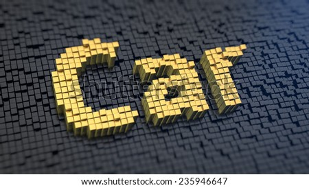 Word 'Car' of the yellow square pixels on a black matrix background - stock photo