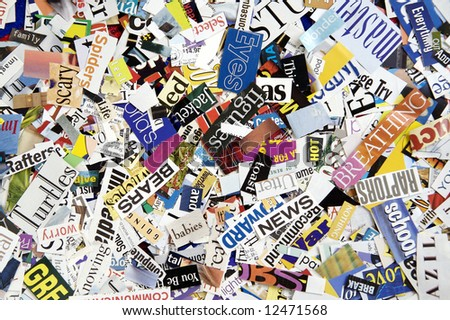 Word Clippings from Magazine Background - stock photo