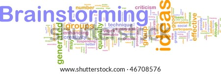 Word cloud concept illustration of Brainstorming brain storming - stock photo