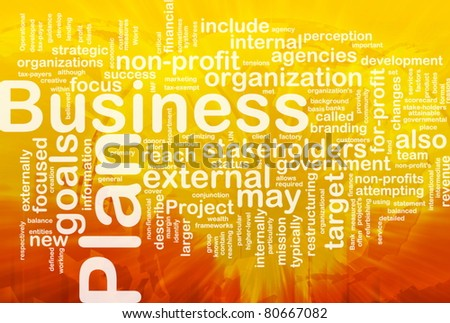 Word cloud concept illustration of business plan international - stock photo