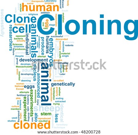 Word cloud concept illustration of cloning clone - stock photo