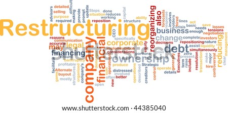 Word cloud concept illustration of company restructuring - stock photo