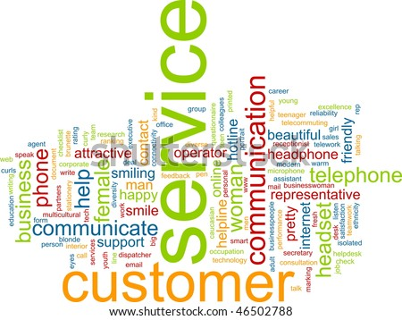Word cloud concept illustration of customer service - stock photo