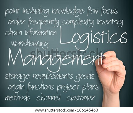 Word cloud concept illustration of logistics management handwritten on blackboard - stock photo