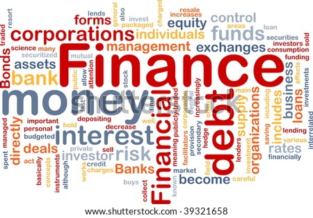 Word cloud concept illustration of money finance - stock photo