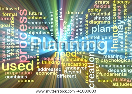 Word cloud concept illustration of planning process glowing light effect - stock photo