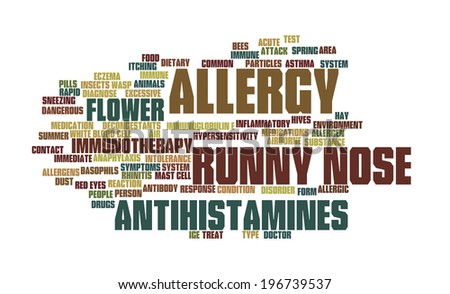Word cloud containing expressions regarding allergies - stock photo