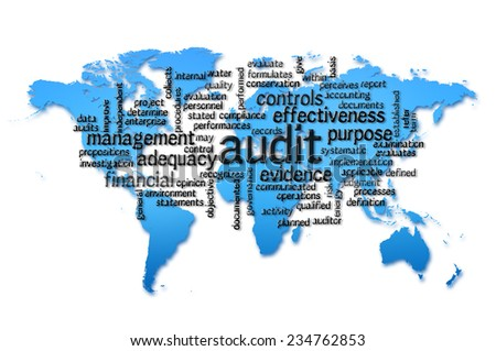 Word Cloud containing words related to Audit with world map background - stock photo