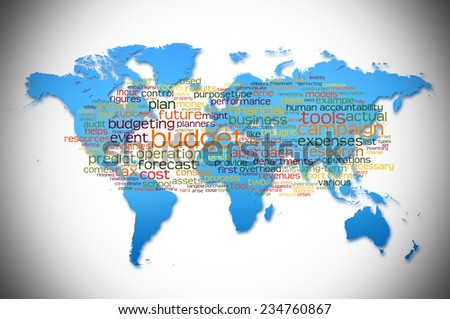 Word Cloud containing words related to Budget with world map background - stock photo