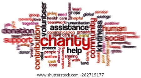 Word cloud containing words related to charity, assistance, health care, kindness, human features, positivity, volunteering, donations, help and similar. Radial zoom blur. - stock photo