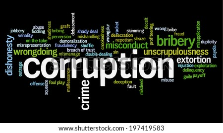 Word cloud containing words related to corruption, crime, bribery, shadiness, sin, unscrupulousness, wrongdoing and illegal activities - stock photo