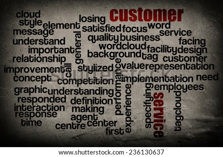 word cloud containing words related to customer service on grunge wall background  - stock photo