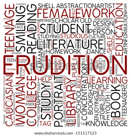 Word cloud - erudition - stock photo