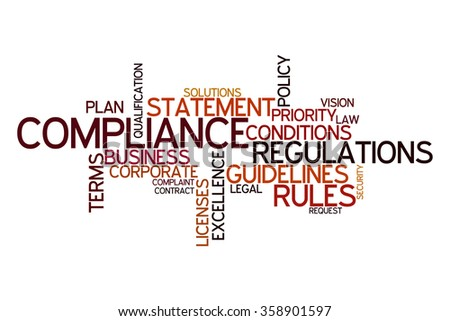 Word cloud for compliance, rules and regulations - stock photo