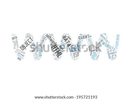 Word Cloud Illustration of Web Technology on white - stock photo