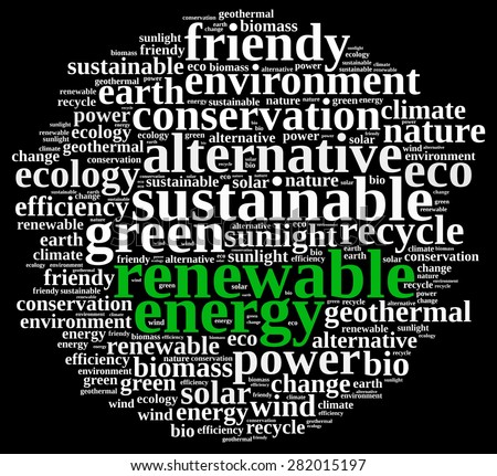 Word cloud illustration on renewable energy. - stock photo