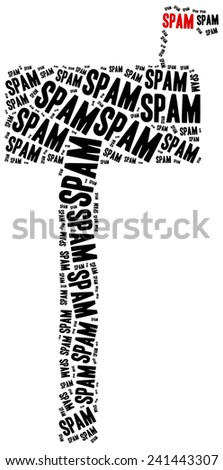 Word cloud illustration related to spam or junk mail - stock photo