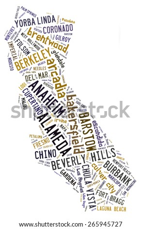 Word Cloud in the shape of California showing cities in California - stock photo