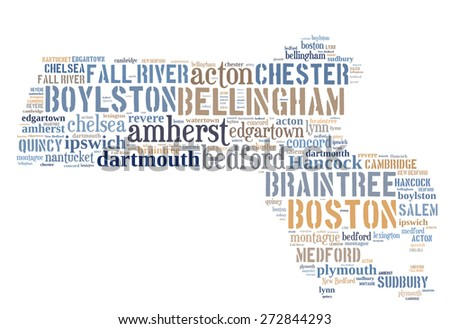 Word Cloud in the shape of Massachusetts showing some of the cities in the state - stock photo