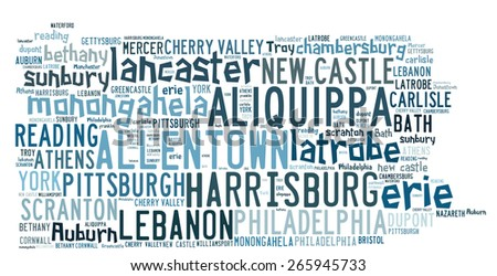 Word Cloud in the shape of Pennsylvania listed cities in the state - stock photo