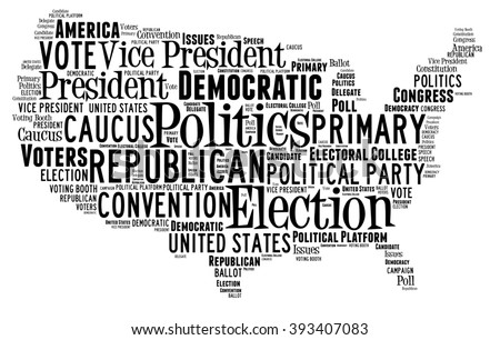 Word Cloud in the shape of the United States showing words dealing with elections - stock photo