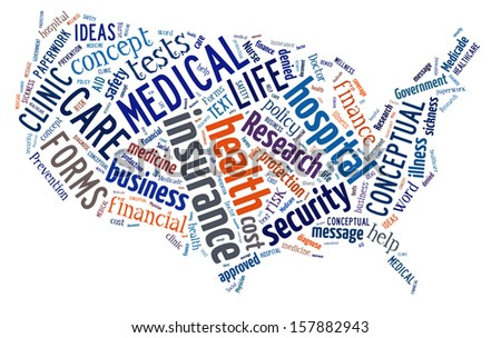 Word Cloud in the shape of the United States showing words dealing with health, medicine and insurance - stock photo