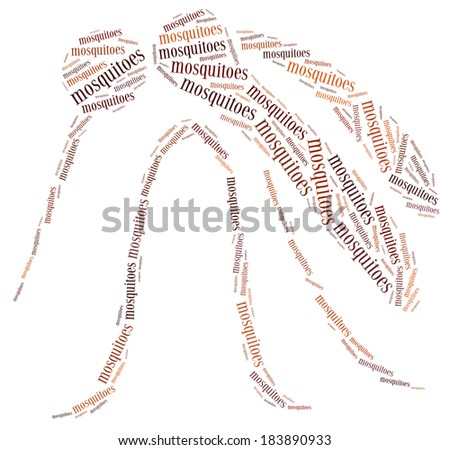 Word cloud mosquitoes related - stock photo