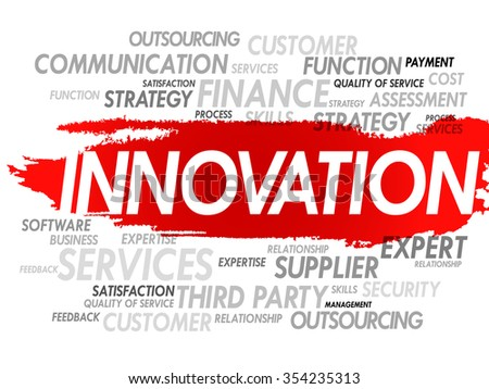 Word cloud of INNOVATION related items, presentation background - stock photo