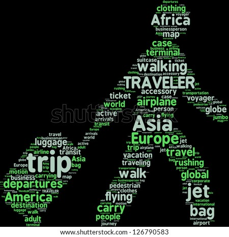 word cloud pictogram of a man walking with travel bag - stock photo