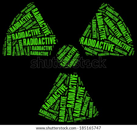 Word cloud radioactivity or chemical waste related - stock photo