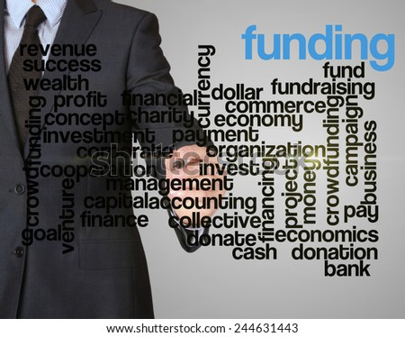 word cloud related to funding written by businessman  - stock photo