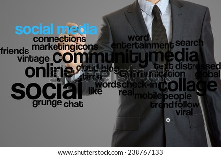 word cloud related to social media written by businessman - stock photo