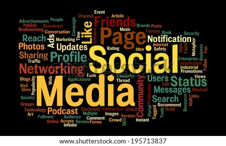 Word Cloud related to the words social media networking for relationships,sharing,status updates,promotions and online advertising for commercial purpose - stock photo