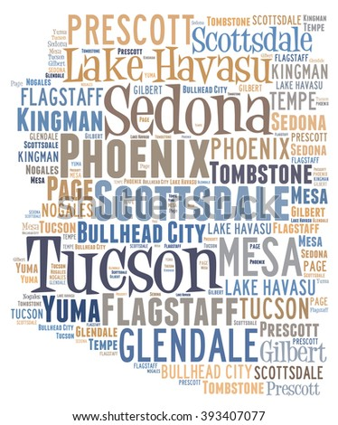 Word Cloud showing various cities in the state of Arizona - stock photo