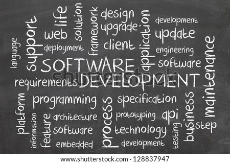 word cloud - software development - stock photo