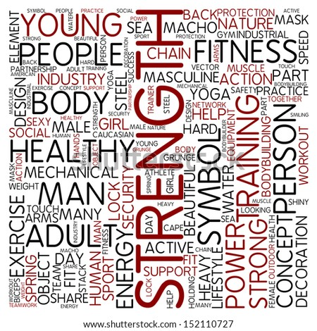 Word cloud - strength - stock photo