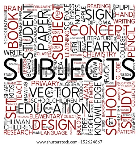 Word cloud - subjects - stock photo