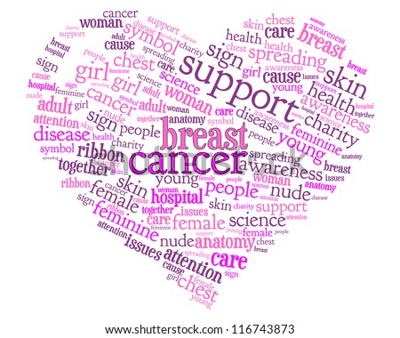 Word cloud, tag cloud text concept and arrangement for breast cancer ribbon. Badge, ribbon, heart. Word collage. - stock photo
