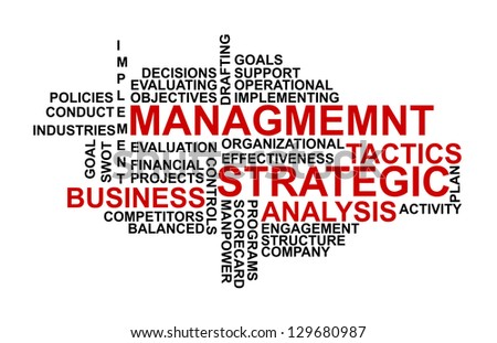 Word cloud tags concept illustration of strategic management. - stock photo