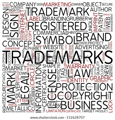 Word cloud - trademarks - stock photo