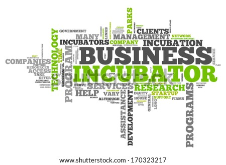 Word Cloud with Business Incubator related tags - stock photo