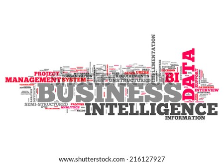 Word Cloud with Business Intelligence related tags - stock photo