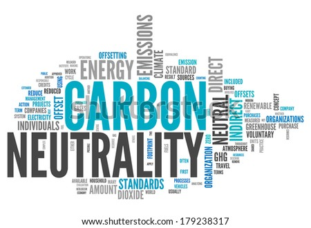 Word Cloud with Carbon Neutrality related tags - stock photo