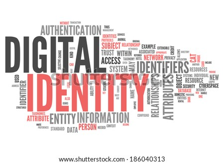 Word Cloud with Digital Identity related tags - stock photo